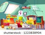 childrens room on attic... | Shutterstock .eps vector #1223838904