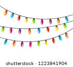 multicolored garland lamp bulbs ... | Shutterstock . vector #1223841904