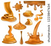 caramel splash vector sweet... | Shutterstock .eps vector #1223847634