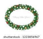 christmas wreath oval frame... | Shutterstock .eps vector #1223856967