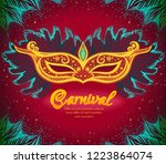 gold carnival mask with... | Shutterstock .eps vector #1223864074