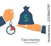 fast money. granting a loan in... | Shutterstock .eps vector #1223865787