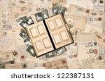 antique family album over... | Shutterstock . vector #122387131