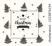 christmas scribble tree card... | Shutterstock .eps vector #1223876194