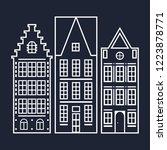 white silhouettes of houses on... | Shutterstock .eps vector #1223878771