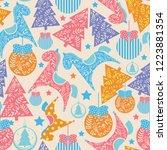 seamless christmas pattern.... | Shutterstock .eps vector #1223881354