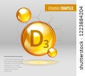 vitamin d3  shining pill... | Shutterstock .eps vector #1223884204