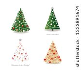 christmas tree decorated set.... | Shutterstock .eps vector #1223891674