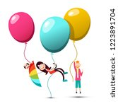 people flying on colorful... | Shutterstock .eps vector #1223891704