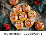 cute pig buns with sausages  ...   Shutterstock . vector #1223892841