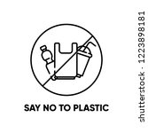 say no to plastic. eco problem... | Shutterstock .eps vector #1223898181