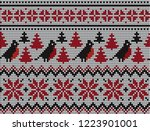 knitted christmas and new year...   Shutterstock .eps vector #1223901001