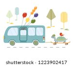 a turtle and a bird hurrying up ... | Shutterstock .eps vector #1223902417