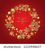 black merry christmas and happy ... | Shutterstock .eps vector #1223908627