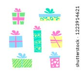 illustration  colorful gift... | Shutterstock . vector #1223914621