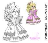 beautiful princess with fan in... | Shutterstock .eps vector #1223921434