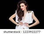 brunette asian girl with long...   Shutterstock . vector #1223922277