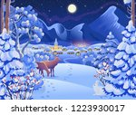 winter night forest landscape... | Shutterstock .eps vector #1223930017