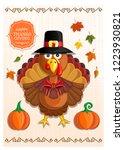 thanksgiving handmade card with ... | Shutterstock .eps vector #1223930821