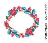 christmas mistletoe wreath over ... | Shutterstock .eps vector #1223946244
