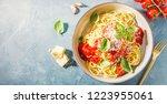 pasta spaghetti with tomato...   Shutterstock . vector #1223955061
