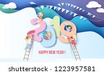 2019 new year design card with... | Shutterstock .eps vector #1223957581