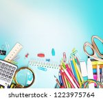school notebook and various... | Shutterstock . vector #1223975764