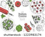 italian cuisine top view frame. ... | Shutterstock .eps vector #1223983174