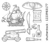 set pirate adventure. cannon ... | Shutterstock .eps vector #1223983177