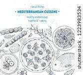 mediterranean food. top view... | Shutterstock .eps vector #1223983534