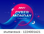 cyber monday sale poster design ... | Shutterstock .eps vector #1224001621