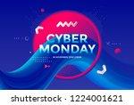 cyber monday sale poster design ... | Shutterstock .eps vector #1224001621