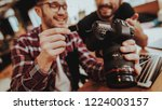 closeup of smiling guy insert... | Shutterstock . vector #1224003157