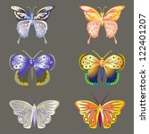 butterfly set isolated on black | Shutterstock .eps vector #122401207