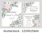 wedding invitation leaves and... | Shutterstock .eps vector #1224015664