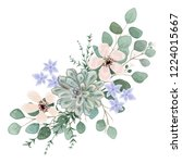 bouquet with leaves and flowers ... | Shutterstock .eps vector #1224015667