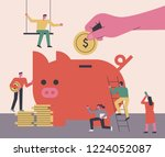 the concept of people who save... | Shutterstock .eps vector #1224052087
