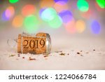 happy new year 2019 cork on the ... | Shutterstock . vector #1224066784