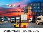 industrial container cargo...   Shutterstock . vector #1224077647