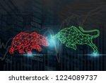 polygonal bull and bear shape... | Shutterstock . vector #1224089737