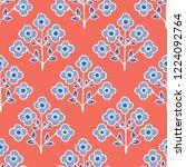 1950s style retro daisy flower... | Shutterstock .eps vector #1224092764