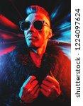 portrait of a crazy disco man.... | Shutterstock . vector #1224097624