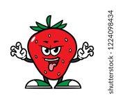 cartoon scaring strawberry... | Shutterstock .eps vector #1224098434