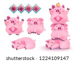 chubby pink pigs with happy new ... | Shutterstock .eps vector #1224109147