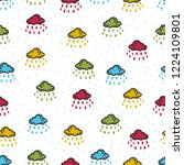 doodle clouds and rain patterns | Shutterstock .eps vector #1224109801