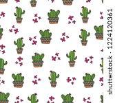 cute cactus seamless pattern... | Shutterstock .eps vector #1224120361