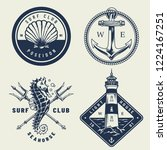 vintage monochrome sea emblems... | Shutterstock .eps vector #1224167251