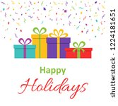 happy holidays text for... | Shutterstock .eps vector #1224181651