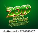 vector happy new year 2019... | Shutterstock .eps vector #1224181657
