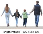 rear view . a happy family goes ... | Shutterstock . vector #1224186121